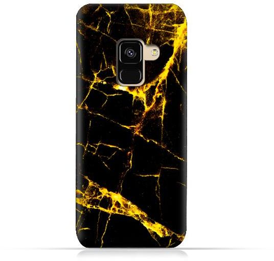 Samsung Galaxy A8 2018 Tpu Silicone Case With Dark And Gold Mesh