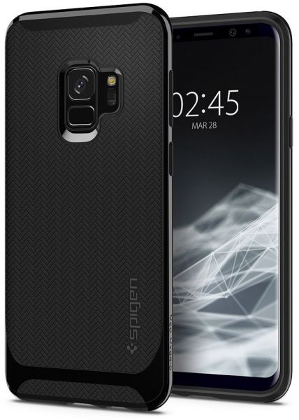 online store 1a129 dccd4 Spigen Samsung Galaxy S9 Neo Hybrid cover / case - Shiny Black with  Herringbone pattern