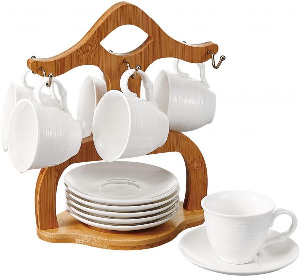 Shallow Porcelain Tea Cup Saucer Set With Bamboo Stand 180cc Ym61185t