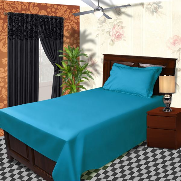 Souq | Just Linen Aqua Single Size 56 X 90 Inches Flat Bedsheets With  Pillow Covers   4 Pieces | Bahrain