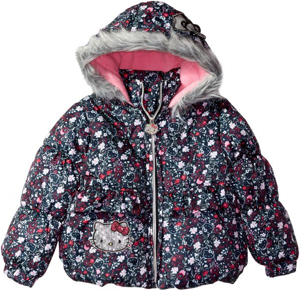 8c00dad57 Outerwear Hello Kitty Baby Girls All Over Printed Puffer Jacket with Fur  Trim Hood