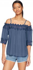 f7fcd792a5a6 A. Byer Junior s Young Women s Teen Off The Shoulder Top with Crochet Trim