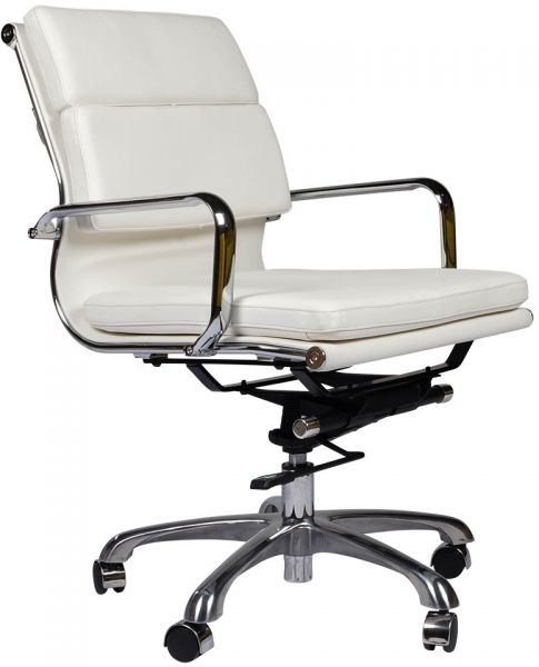 Eames Style Executive Leather Office Chair White