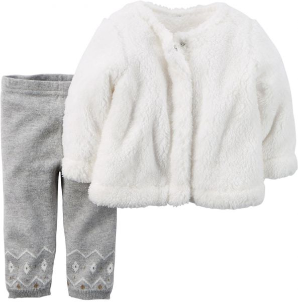 c9f3f38b7a63 Carter s Baby Girls  2 Piece Cardigan Set - White Grey - 18 Months ...