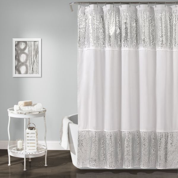 Lush Decor Shimmer Sequins Shower Curtain 70 X 72 Silver