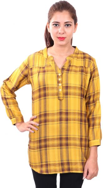 f902a0e5 ... Checked Rayon V Neck Casual Party Wear 3/4th Sleeve Short Kurti Top. by  Globus, Tops - Be the first to rate this product