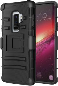 Samsung Galaxy S9 Plus S9+ Case, MoKo Kickstand + Swivel Holster Belt Clip Protector, Heavy Duty Full Body Rugged Bumper Armor Cover for Samsung Galaxy S9 ...