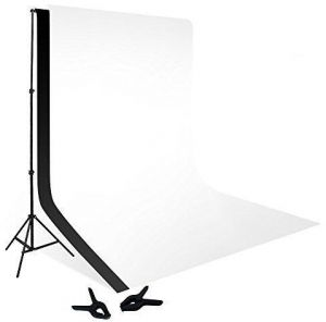 COOPIC S03 2m x 3m Photography Video Studio Background Stand with 1.5x3m White Black Background Backdrop 2 Clamp Kit Set