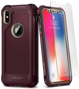 Spigen iPhone X Pro Guard case / cover - Champagne Gold / Burgundy - Full 360 protection with 2 pc Glass Screen Protector