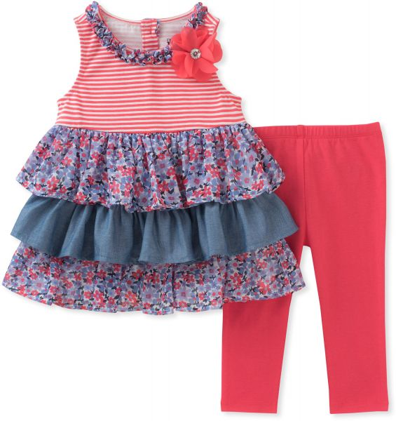 4f616008209 Kids Headquarters Toddler Girls' Tunic Set-Sleeveless, Red/Blue/Print, 4T |  Souq - UAE