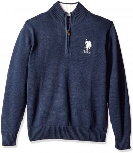 913b3fa00306a U.S. Polo Assn. Men s Solid 1 4 Zip With Stripe Detail At Neck