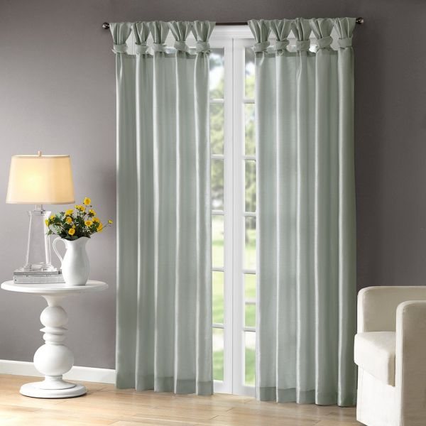 Madison Park Aqua Curtains For Living Room, Transitional Fabric Curtains For Bedroom, Emilia Solid Window Curtains, 50X95, 1-Panel Pack