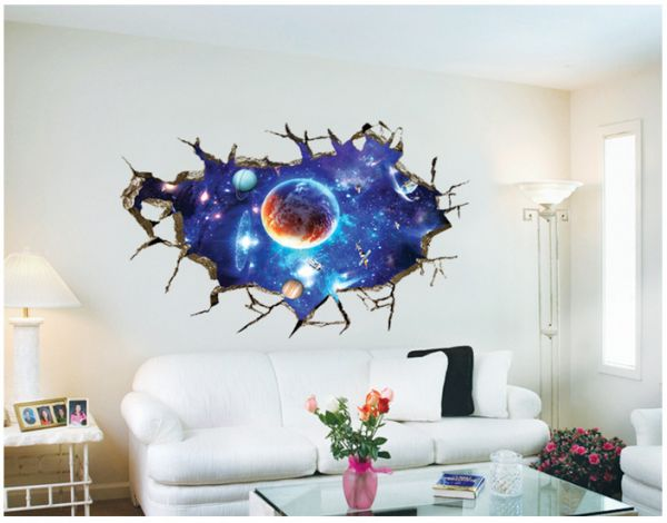 free collocation&new 3d broken wall space star wall plaster bedroom