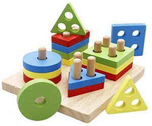 Lewo Wooden Puzzle Toddler Educational Toys Shapes Sorter Preschool Geometric Blocks Stacking For Kids