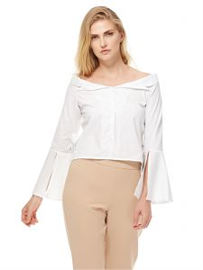 20c23e01ec7206 GLAMOROUS Women s White Off Shoulder Bell Sleeve Blouse