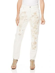 2e651efee98 GLAMOROUS Women s White Embroidered Ripped Mom Jean