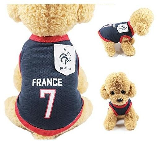 32e37a90b Small Animals Clothes Football T-shirt Dogs Costume National Soccer World  Cup FIFA Jersey for Pet France