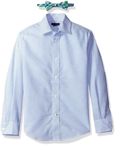 8bfd85d52 Tommy Hilfiger Big Boys' Long Sleeve Dress Shirt With Bow Tie, White ...
