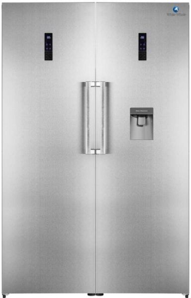 White whale twins 655 liters no frost refrigerator & freezer with water  dispenser, inox color (WR-3066MXSS-R+WF-3066MSS-F)