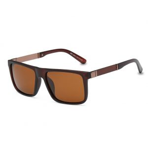 c110355bb62 DONNA Trendy Oversized Square Aviator Polarized Sunglasses Wayfarer Style  with Big Unbreakable Frame and Anti-glare Lens D54(Brown)