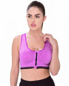 80855c1e93 Glamroot Women s Padded full Coverage Front Zip Closure Sports Bra for Gym