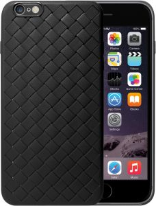 Apple iPhone 6s Plus / iPhone 6 Plus Edivia Creative Grid Weaving Soft Silicone Thin Smooth Back Case Cover - Black