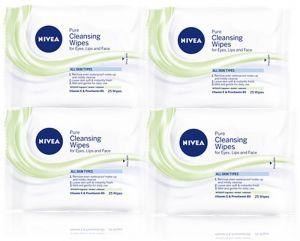 Nivea Face Pure Cleansing Wipes - Pack of 4 Pieces (4 x 25 Sheets)