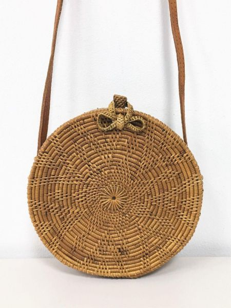 Round Rattan Bag Flower Pattern Size 20cm With Bow Closure