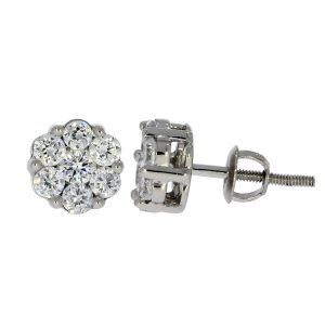 e9dc9a48e 0.74 CT Round Cut Cubic Zirconia 925 Sterling Silver Women's Cluster Stud  Earrings