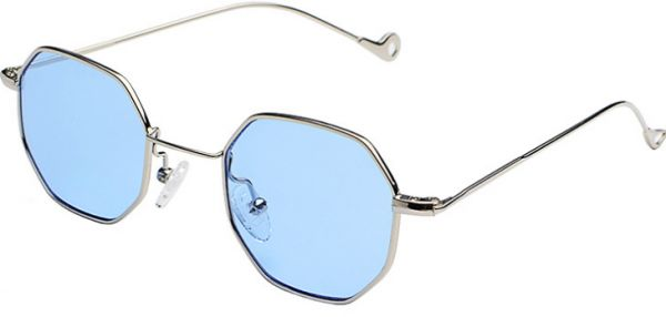 e823c3e3c0 Fashion Blue Sunglasses Small frame polygon Clear lens Sunglasses vintage  Sun Glasses Hexagon Metal Frame-ej