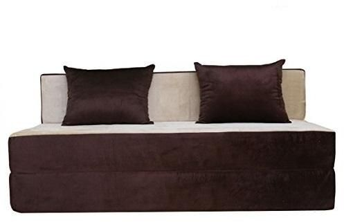 Sofa Set   DUO, Two Seater Sofa With 2 Cushions Dark Brown And Off White  Premium Upholstery Fabric. Folding Sofa, Sofa Bed, Fold Out Couch, Foam Sofa .