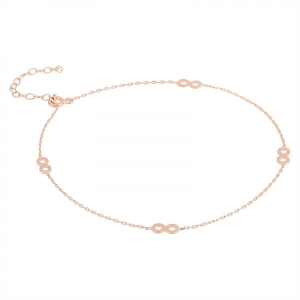 Buy Alwan Accessories New Silver Rose Gold Plated Long Size Anklet
