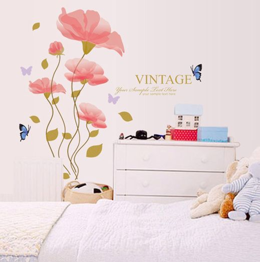 Strange Warm Romantic Flowers Butterfly Wall Stickers Living Room Download Free Architecture Designs Rallybritishbridgeorg
