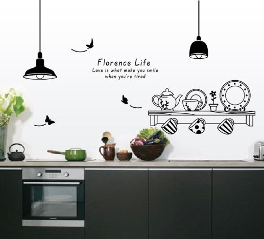 Kitchen Wall Sticker Tableware Vinyl Decal Stickers For Home Decor