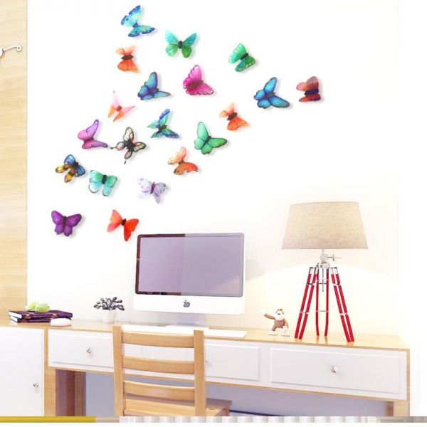 Multi Color Butterfly Wall Decal Pvc Wall Painting Bedroom Living Room Wall Sticker Waterproof Wall Paper 21 Pieces 3d Diy Wall Mural For Home Decor