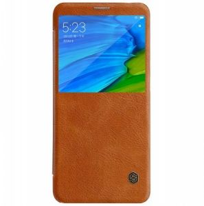 Nillkin Qin Leather Flip case Cover For Xiaomi Redmi Note 5 Pro/Note 5-Brown By Muzz