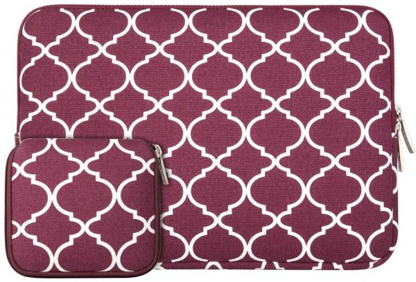 8a4b32bf73ca MOSISO Quatrefoil Style Canvas Fabric Laptop Sleeve Bag Cover for 13-13.3  Inch MacBook Pro, MacBook Air, Notebook with Small Case, Wine Red