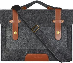 a7771a19affe Mosiso Felt Laptop Shoulder Bag for 15-15.6 Inch 2018 2017 2016 New MacBook  Pro with Touch Bar A1990   A1707