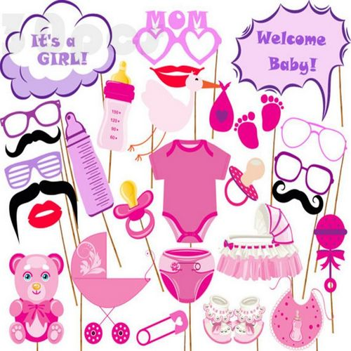 27pcs Photo Booth It Is A Girl For Baby Shower Party Photo Booth