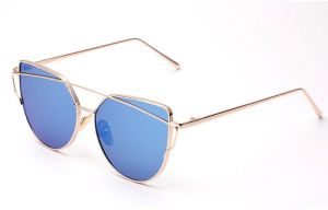 62ee31251 2018 Cat Eye vintage Brand designer rose gold mirror Sunglasses For Women  Metal Reflective flat lens Sun Glasses Female oculos