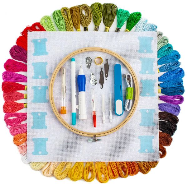 Hand Embroidery Starter Kit, 50 Premium Rainbow Color Embroidery Floss,  Craft Cross Stitch Threads Tool Including Magic Pen, Bamboo Embroidery  Hoops