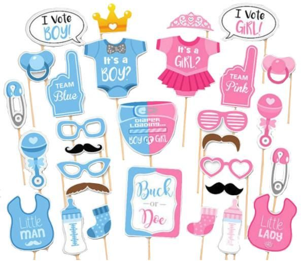 30pcs Its A Boy Girl Photo Booth Props Newborn Baby 1st Birthday