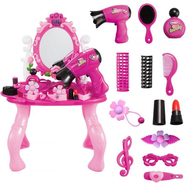 Beauty Dresser Toy Vanity Set Dressing Table With Mirror Kids And Chair Play Fashion Makeup Accessories House Girl