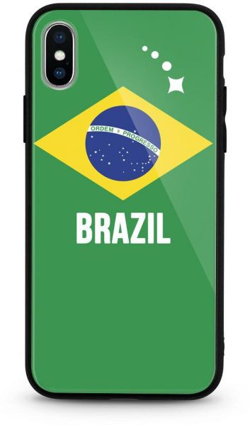 For Apple iPhone X World Cup Tempered Glass Phone case Back Cover Football  Flag