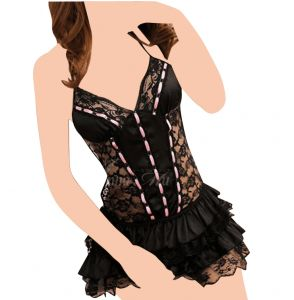 Lingerie Black Babydoll Lace Skirt Nighty Dress And G-string Costume  Sleepwear 0cba18a5a