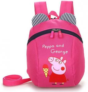 Peppa Pig And George Children s Backpack Kid s Cute Cartoon Pattern Rose Red 1f9683a37082e