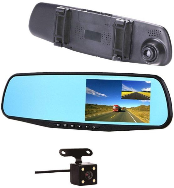 DVR Camera Rear View Mirror Video Recroder 4.3 inch Car Camera Dual lens Cam night Vision Front and Rear Back Up Reversing Security