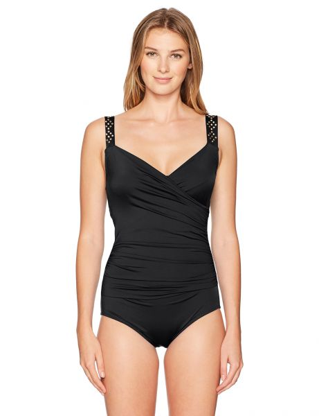 7b3ed8e8f80 Jantzen Women s Plus Size Draped Surplice One Piece Swimsuit with ...