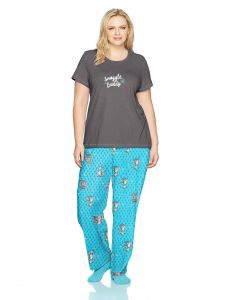 6ccbba8013 HUE Women s Plus Size Printed Knit Tee and Pant 3 Piece Pajama Set