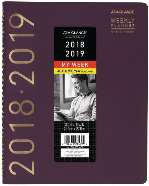 at a glance academic weeklymonthly plannerappointment book july 2018 june 2019 8 14 x 10 78 contemporary purple 70957x59